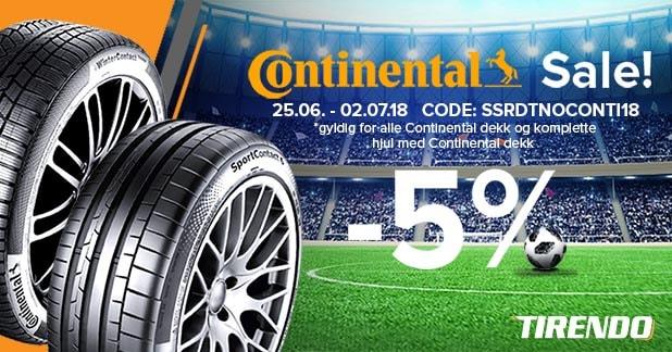 5% rabatt på Continental-dekk