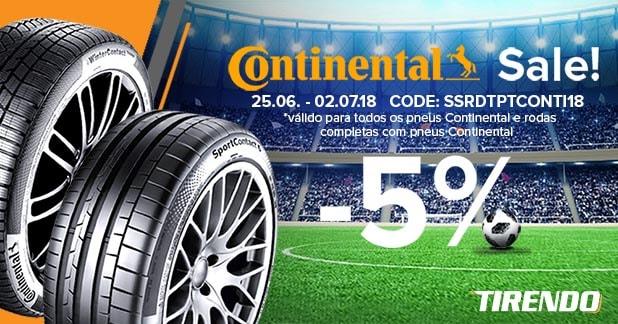 5% de desconto em pneus Continental