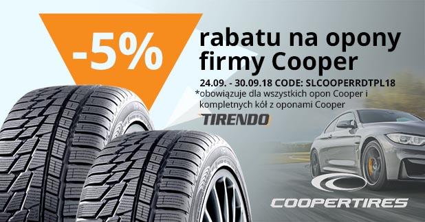 5% rabatu na opony firmy Cooper