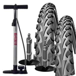SET 2x Schwalbe 42-622 Land Cruiser + 2x Schlauch Conti Tour 28 all DV + Barbieri Eco Pump
